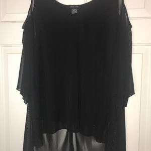 Adele & May High-Low Black Cut Out Sleeve Top